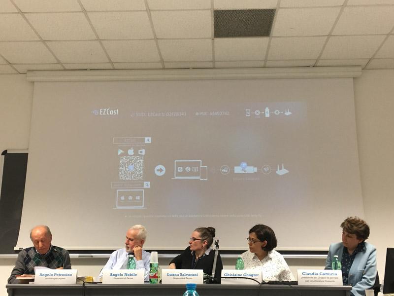 la relazione di Angelo Petrosino (da sinistra Angelo Petrosino, Angelo Nobile, Luana Salvarani, Ghislaine Chagrot e Claudia Camicia)