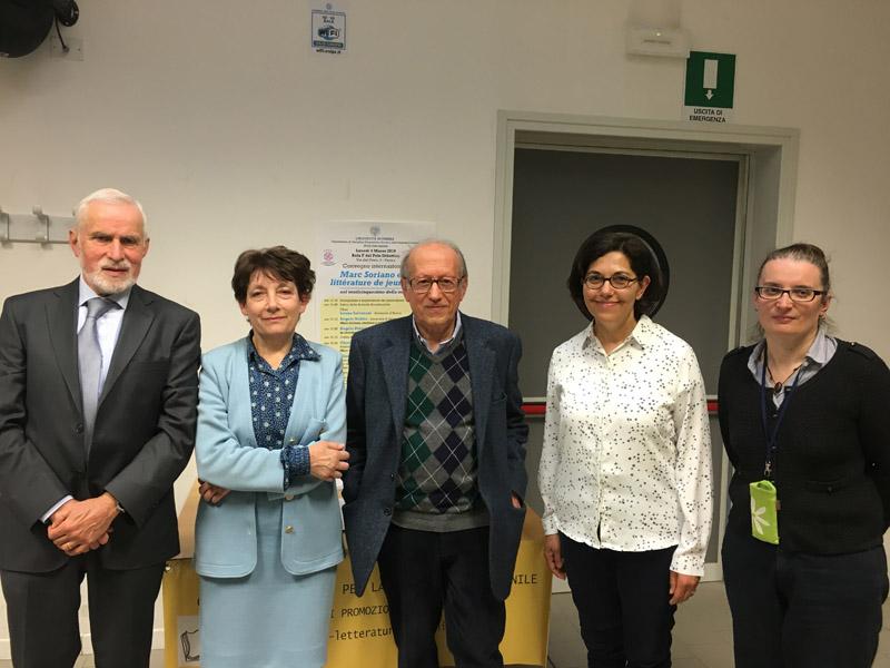 Convegno su Marc Soriano: da sinistra Angelo Nobile, Claudia Camicia, Angelo Petrosino, Ghislaine Chagrot e Luana Salvarani